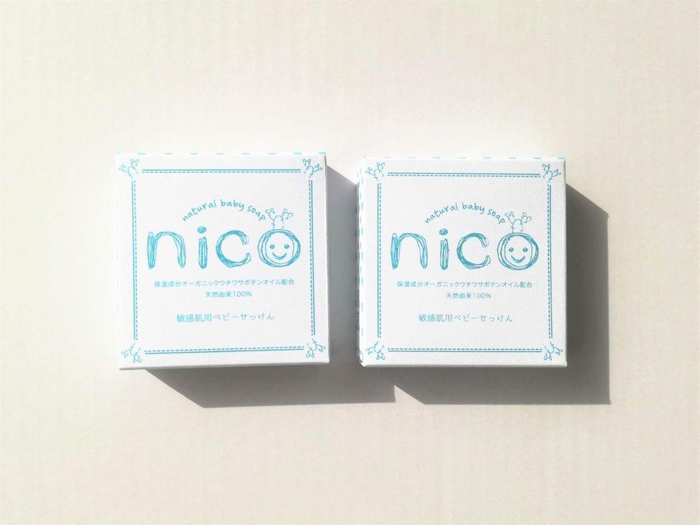 「nicoせっけん」は笑顔のかわいいロゴの入った白い箱に入っています